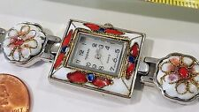 Authentic Luxury  Appear Quartz Watch Girls Woman Silvertone White + Red Charms