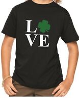 Youth LOVE Shirt Funny Saint Patrick's Day Tee Shamrock Boys & Girls Paddys Day