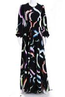 A.L.C. Womens Long Sleeve Prined Leah Pleated Maxi Dress Black  Size 0 13494632