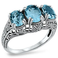 GENUINE SKY BLUE TOPAZ 3 STONE ANTIQUE STYLE 925 SILVER RING SIZE 4.75,  #258
