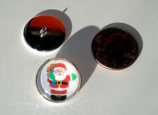 """Christmas Santa Claus 3/4"""" Glass Dome Button handcrafted collectible shank"""