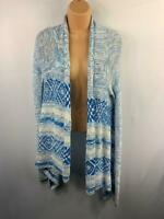 WOMENS HOLLISTER WHITE/BLUE PATTERNED CASUAL DRAPE CARDIGAN TOP SIZE XS SMALL