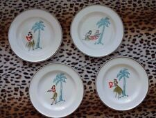 "TOMMY BAHAMA Rare Vintage ""HULA GIRL"" Cocktail/Appetizer Plates - Set of 4"