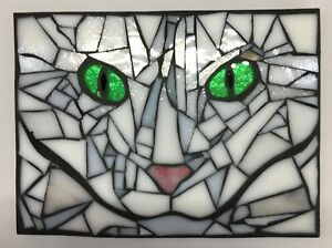 M011 Glass Mosaic Wall Art Picture 20cm x 15cm Abstract Tabby Cats Eyes