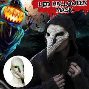 LED Halloween Costume Props Plague Doctor Bird Mask Nose Beak Cosplay Steampunk