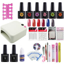 36W UV/LED Lamp Dryer Nail Art Kit 6 Color Gel Polish Base Top Coat Manicure Set