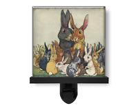Cute Easter Family Bunny Rabbits Adorable Animal Glass Photo Night Light