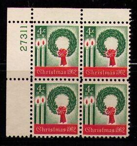 US USA Sc# 1205 MNH FVF PLATE # BLOCK Christmas Wreath Candles Xmas Bow