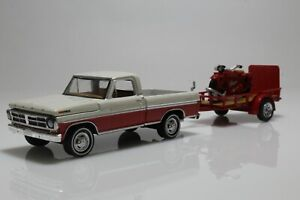 Ford F-100 & Indian Scout Motorcycle w/ Utility Trailer 1:64 Scale Diecast Model