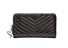 NEW Victoria's Secret V-Quilt Metallic Crackle Everything Zip Wallet Black