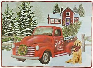 Christmas Vinyl Placemats Snowy Red Farm Truck Foam Back Set of 4 13 x 18 in New