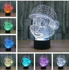 Super Mario Head 3D Night Light 7 Color Change LED Desk Table Light Lamp Gift WN