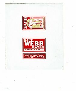 1 Old Bryant & May 1900s Proof matchbox label Capt Webb Match size 158x138mm