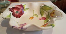 """TABLETOPS UNLIMITED SPRING FLORAL RUFFLED BOWL 12 1/2"""" FLOWERS NICE Condition"""