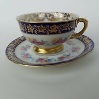 Bavaria Germany Cup And Saucer Pink Yellow Blue Flowers Gold Trim   4 4