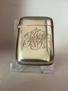Antique Solid Silver Victorian Vesta Case Birmingham Circa 1897