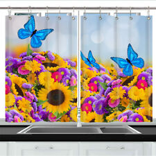 Blue Butterfly and Sunflower Kitchen Curtains 2 Panel Set Decor Window Drapes