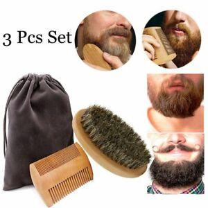 Styling Tool Beard Grooming Boar Bristle Brush Wood Beard Comb Facial Shaving。