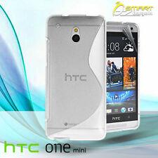 Clear S Curve Gel Case For HTC ONE Mini M4 + Screen Guard TPU Jelly Soft Cover