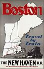 """Vintage Illustrated Travel Poster CANVAS PRINT Boston By Train 24""""X18"""""""