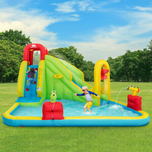 Inflatable Water Bounce Castle Kids Jump & Slide Bouncer Playhouse W/ Basketball