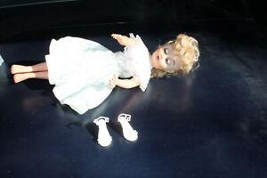 "1960s Vtg 17"" Blonde Fashion Doll Blue glass Eyes B-18 Earrings.high heels"