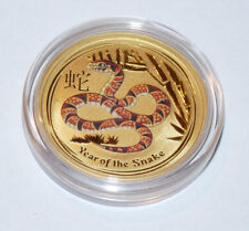 Australien Lunar 2 Schlange Year of the Snake 1/2 Oz Gold farbig color Australia