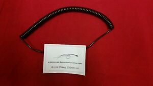 """4 CORE 0.081sqmm (28awg) COILED BLACK PUR DATA CABLE 250mm (10"""") COIL LENGTH"""