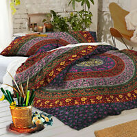Indian Purple Elephant Mandala Hippie Duvet Cover Blanket Ethnic Comforter Cover