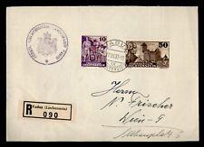DR WHO 1937 LIECHTENSTEIN VADUZ REGISTERED SLOGAN CANCEL TO AUSTRIA  f68776