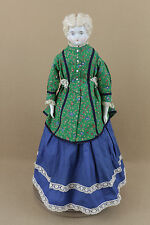 """21"""" lovely old antique German Hertwig China shoulder head cloth body lady Doll"""