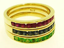 R165 - Genuine 9ct SOLID Gold NATURAL Sapphire RUBY Emerald Ring set Stackable