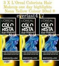 L'Oreal Colorista Hair Makeup one day highlights Neon Yellow Colour  3 X  30ML