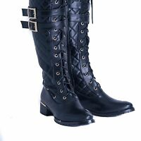 Women's Ladies High Under The Knee Boots Lace Up Long Low Heel Shoes UK Size 3-8