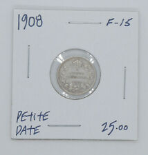 1908 Canadian silver coin 5 cents F15 condition small date