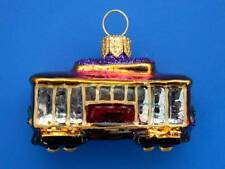 SMALL STREET CABLE CAR TROLLY EUROPEAN BLOWN GLASS CHRISTMAS TREE ORNAMENT