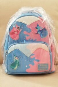 Disney Loungefly Sleeping Beauty Fairy Godmothers Mini Backpack.