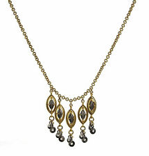 Monet Hematite Tone Frontal Drop Cable Chain Gold Tone Necklace NEW