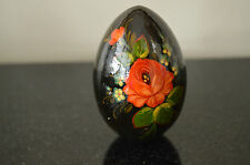 Black Lacquer Decorative Egg - Flowers