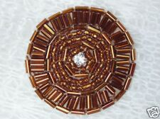 0367 ~ BRONZE ROUND RHINESTONE BEADED APPLIQUE 1.5""