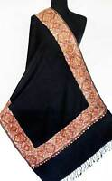 Crewel Embroidered Wool Shawl Coral & Beige on Black Kashmir Embroidery Stole