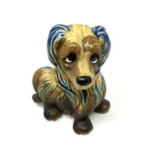 Vintage Handmade in Japan Blue Brown Porcelain Ceramic Dachshund Figurine 3.75H