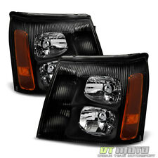 Black 2002 Cadillac Escalade Headlights Lamps Left+Right Fit: Halogen Type Only