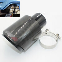 """Universal Polished Carbon Fiber Car Exhaust Tip Muffler Pipe 2.5"""" Inlet 3.5"""" Out"""