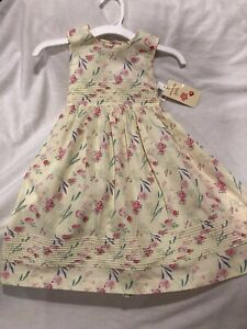 NWT Laura Ashley Girls Dress 3T Yellow Floral Sleeveless Pin tuck Empire