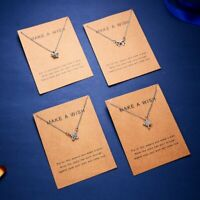 Fashion Crystal Heart Pendant Necklace Paper Card Chain Women Wish Jewelry Gift