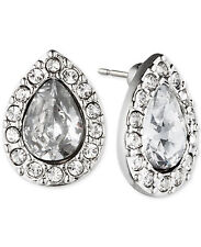 GIVENCHY Clear Pave Crystal Rhodium-Tone Teardrop Stud Earrings
