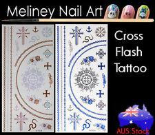 Art Fashion Jewellery bracelet ring Cross Flash Tattoos Gold Metallic Body