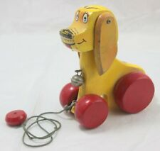Vintage Yellow Red Wooden Nodding Dog Pull Toy w/ Bell