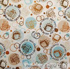 BonEful Fabric FQ Cotton Quilt Cream Brown Blue Coffee Shop Cup Mug Circle Toile